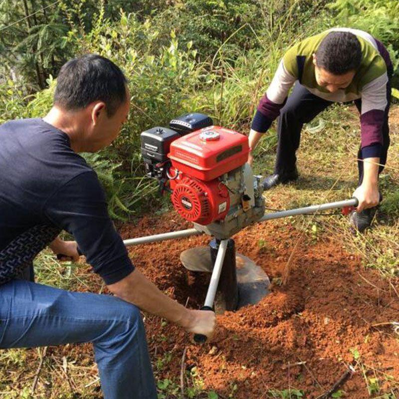 牵引式农用双钻头打坑机 硬土质深挖坑机 大棚立柱打坑机钻眼机