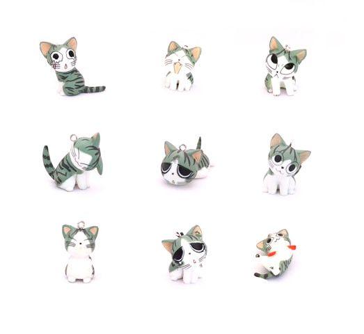 a011 超可爱起司猫手机链 苔藓多肉植物微观小物 甜甜猫diy配件