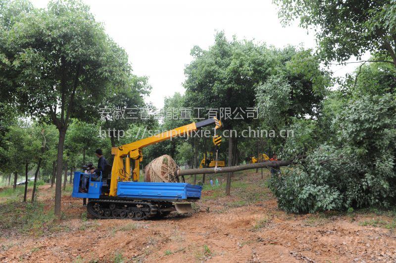 随车吊 三普牌7dyl-1500型履带式农林吊运机 建筑工程履带式小吊机图片