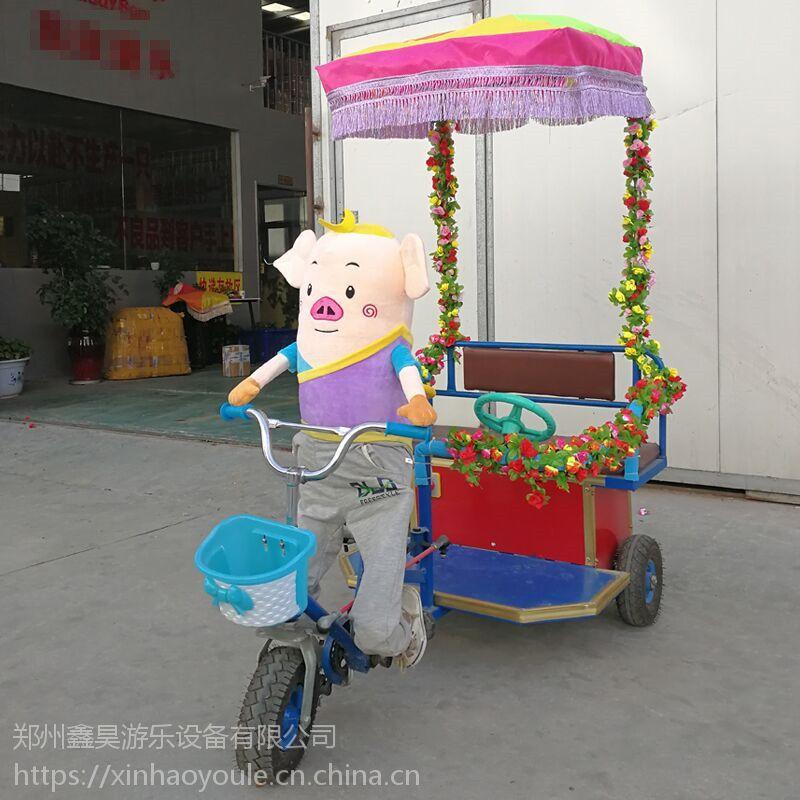 儿童动物拉车玩具车亲子互动彩灯遥控车广场双人电动玩具车