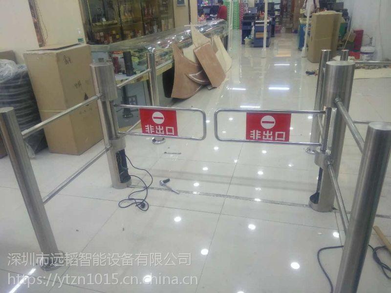 远韬超市自动门_进出口器单向感应门_红外摆闸导向门