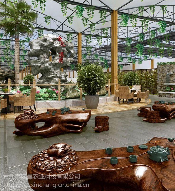 山东东营玻璃生态园餐厅餐饮温室6米檐高、0.75KW拉幕电机型承建公司