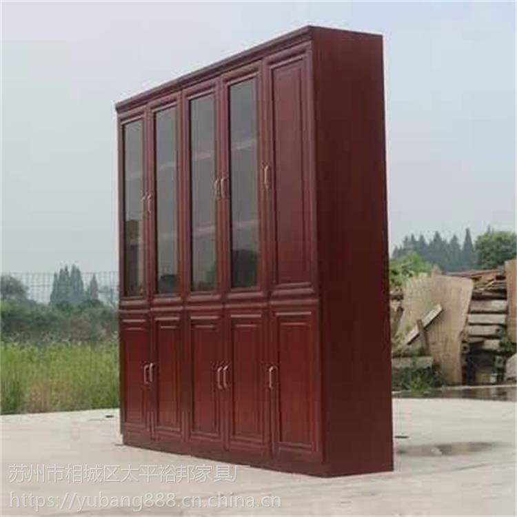 批发落地三门书柜油漆文件柜中式大储物贴木皮办公柜办公家具可定制