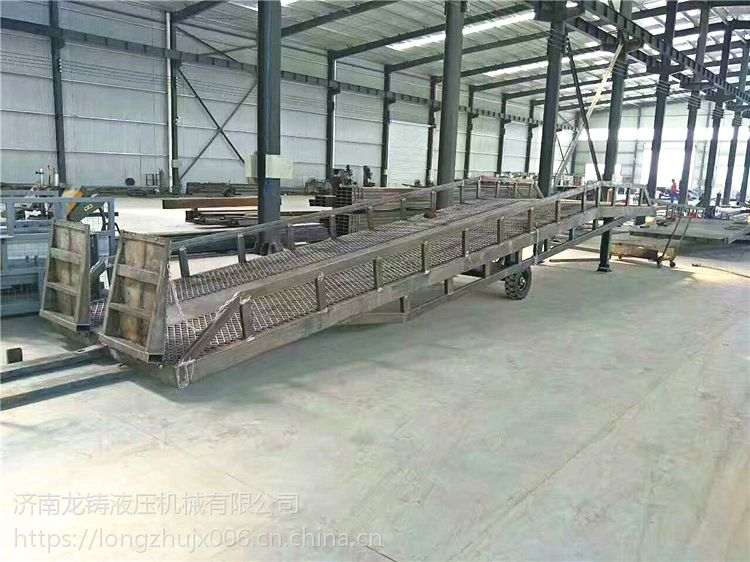 现货供应6/8/10吨移动式液压登车桥手动升降无需外接动力叉车专用装卸台-龙铸机械