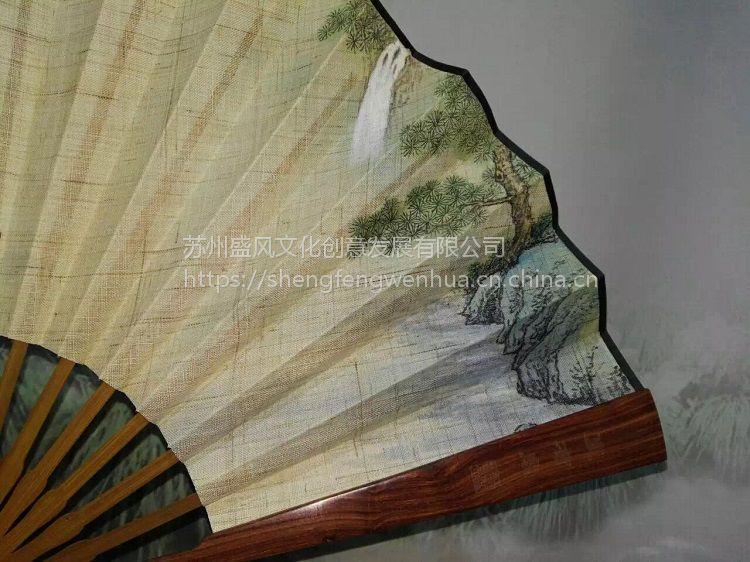 新品夏布手绘折扇红木大骨竹子小骨