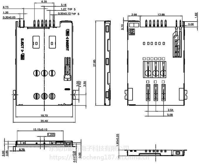 东莞 SOFNG SIM-024 尺寸:27.85mm*18.7mm*1.95mm SIM卡连接器