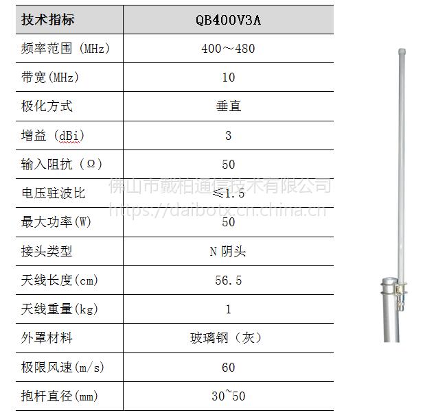 QB400V3A VHF/UHF 400MHz 频段集群通信天线