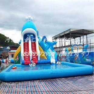 山东菏泽大型支架水池 充气水上滑梯 充气水上乐园