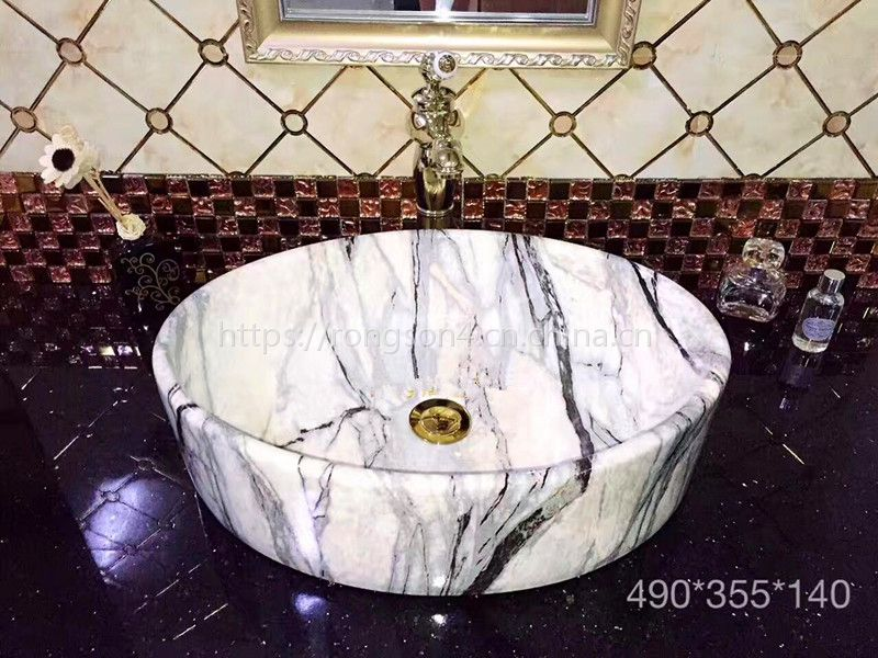 酒店卫生间欧式溶盛仿大理石无孔圆形洗漱一体陶瓷盆