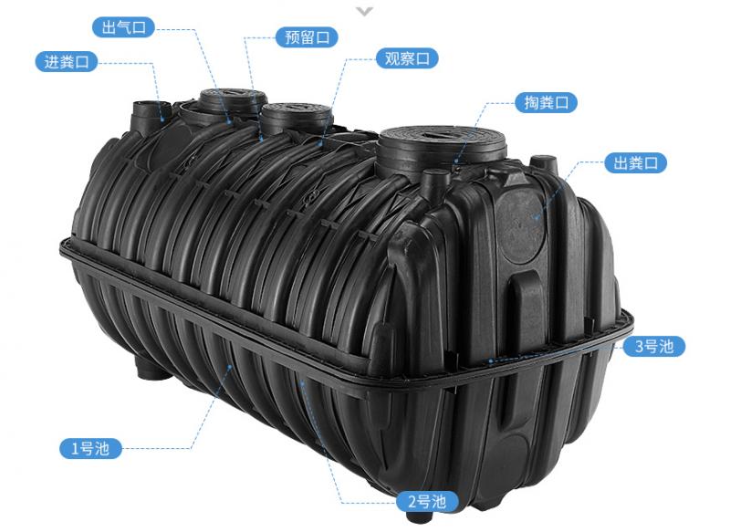 江苏专业生产家用PE塑料化粪池1.5立方天益旱厕改造铭井防渗地埋式化粪池