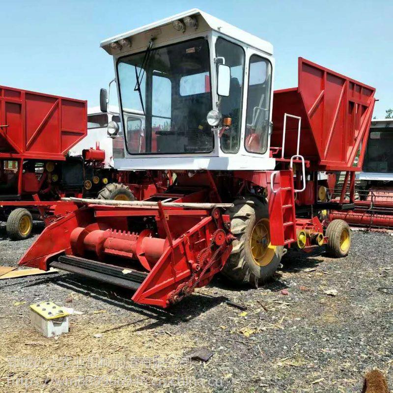 畜牧养殖业饲料青储机 轮式割台前置秸秆回收不吸土青储机
