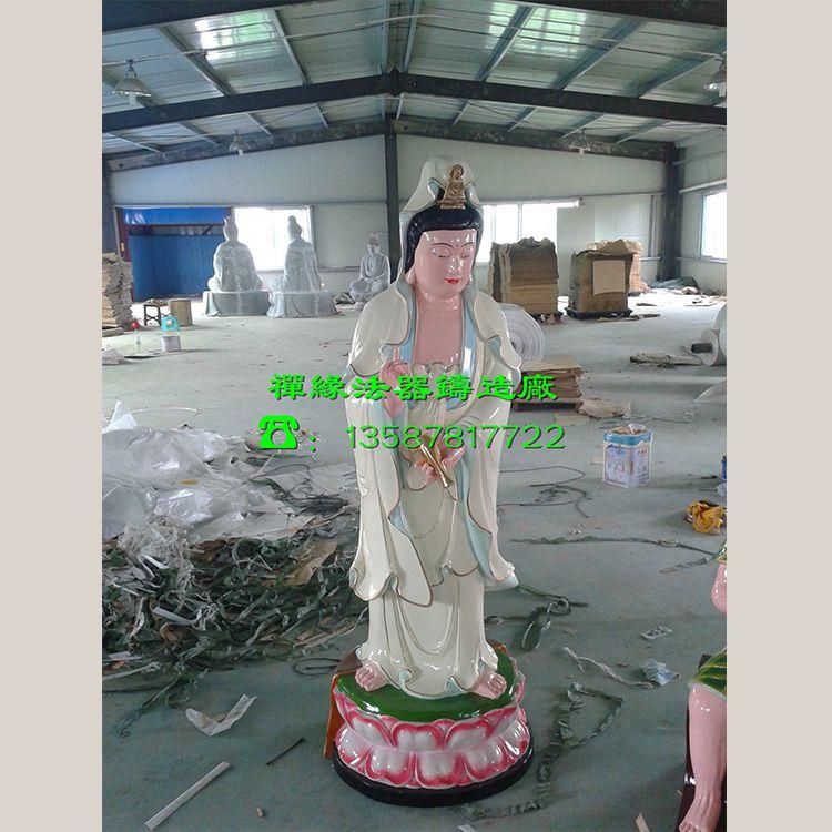 供应玻璃钢彩绘观音像 观音站像 佛教神像