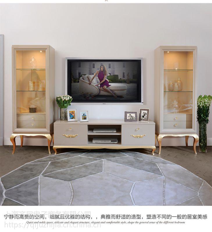 齐居置家欧式电视柜实木奢华电视柜简欧风格时尚客厅电视墙柜法式