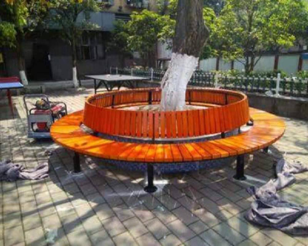 南宁围树坐凳,实木围树座椅~南宁防腐木圆形椅子供应商