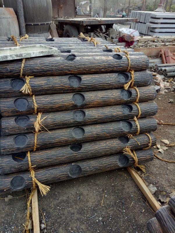 水泥仿木纹栏杆 混凝土仿树皮护栏生态栏杆
