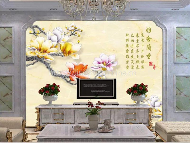 玉兰亭壁画壁布定制 大型壁画电视沙发背景墙个性定制 东莞壁画厂家