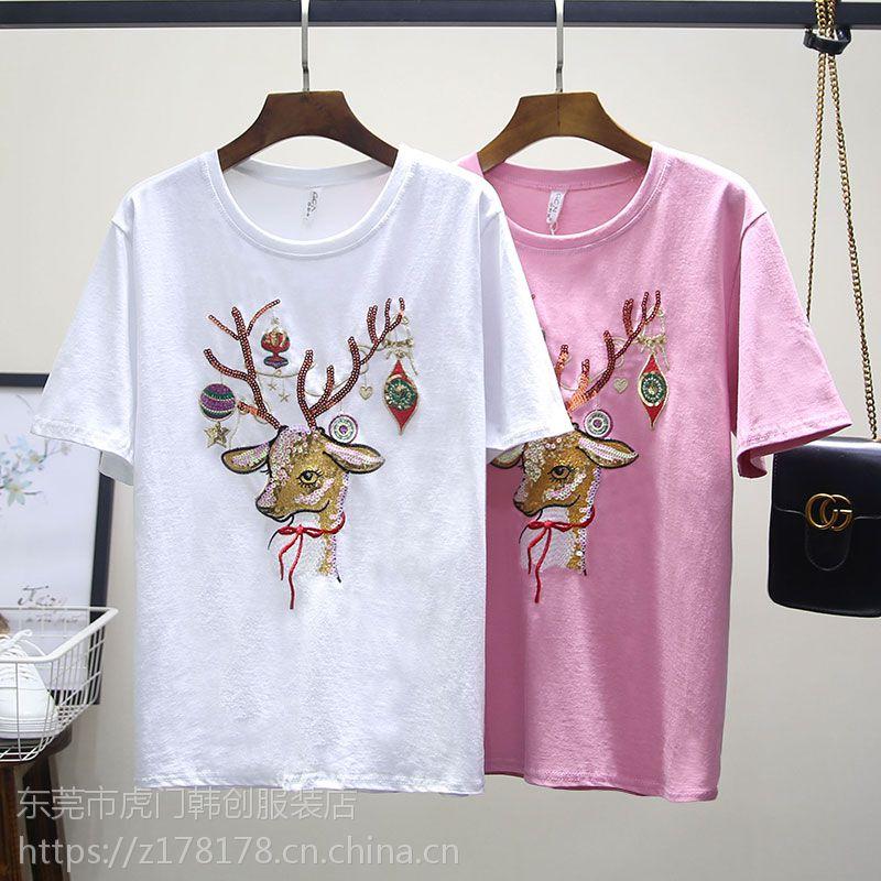 夏季热卖女式T恤便宜女装短袖韩版纯棉T恤适合地摊赶集清仓几元服装起