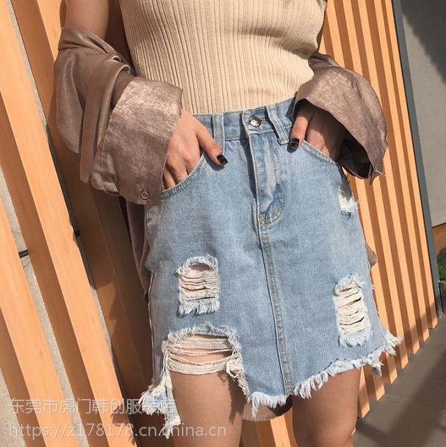 2018夏季新款女装韩版破洞牛仔短裤女式高腰半身包裙地摊热卖批发