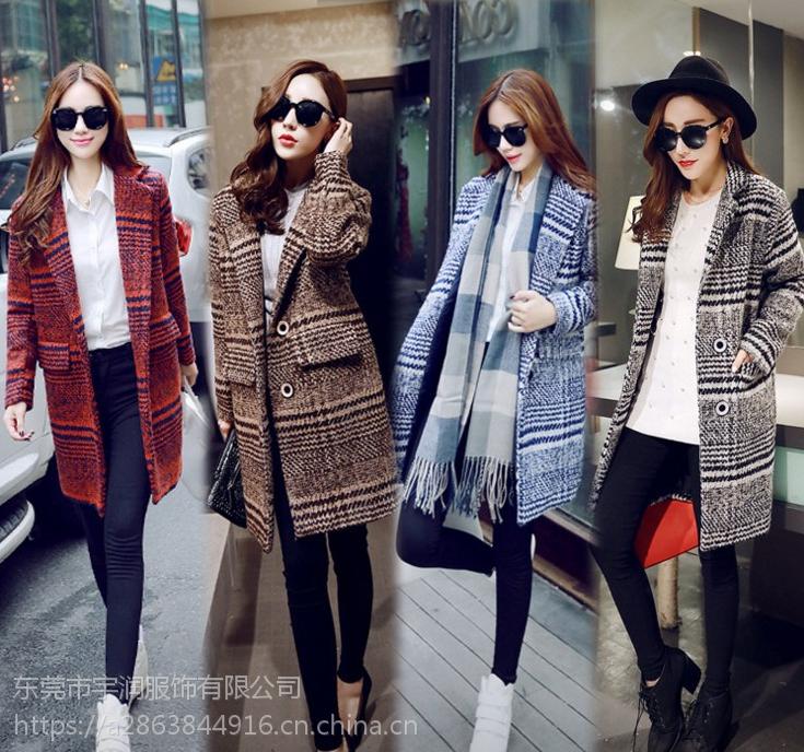 广州便宜女装大衣羽绒棉服双面尼外套中长款高档品牌尾货大衣清仓