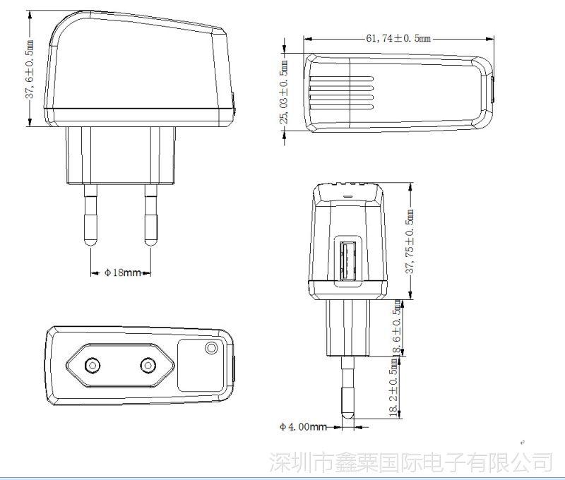 歐規USB尺寸圖