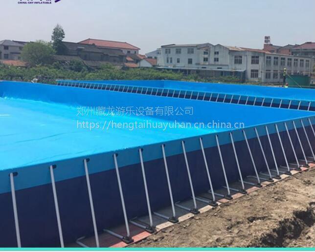 大象充气水上滑梯 支架水池游泳池游乐设施 1米高钢架蓄水池郑州厂家