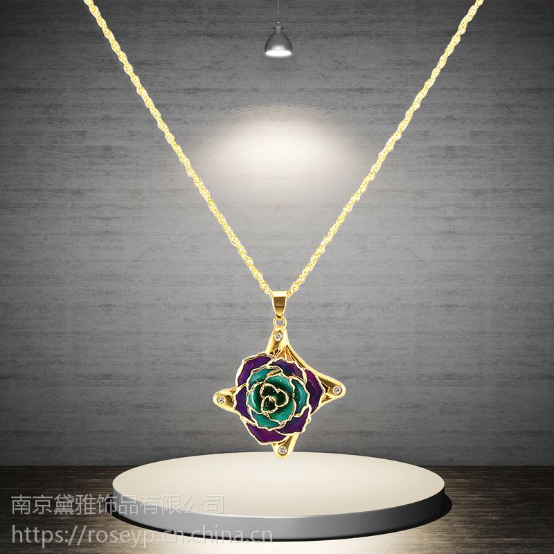 黛雅精美镀金玫瑰吊坠天然玫瑰材质手工制作创意礼物厂家批发