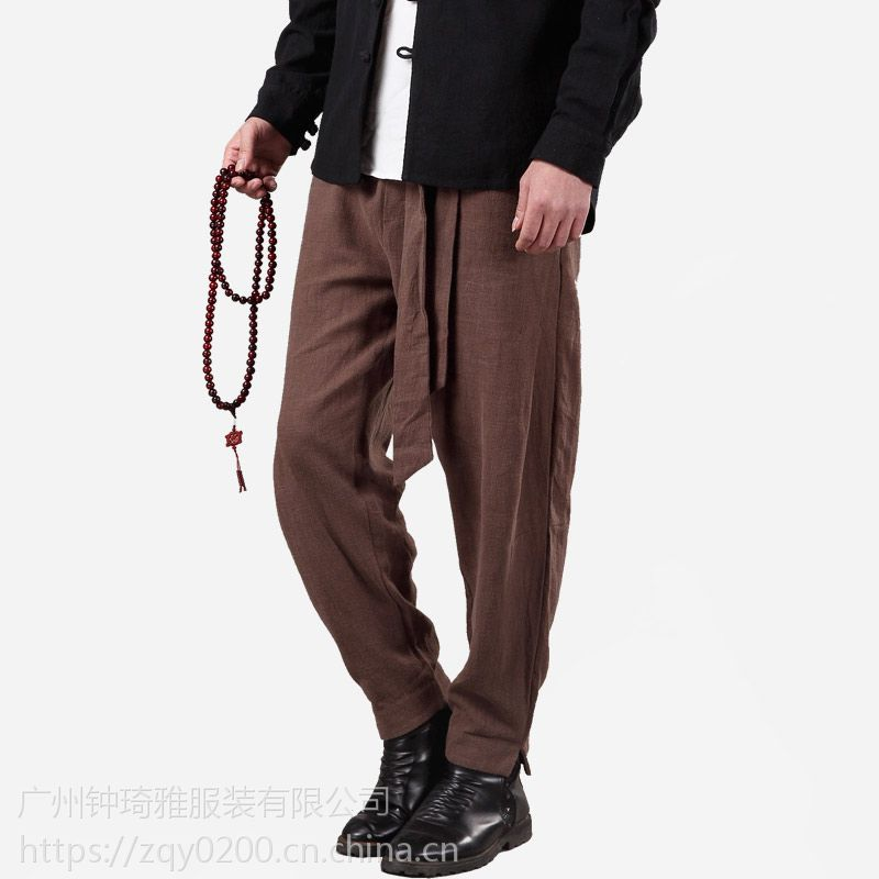 秋季新款男士休闲裤亚麻宽松复古小脚哈伦裤青年男裤长裤定做