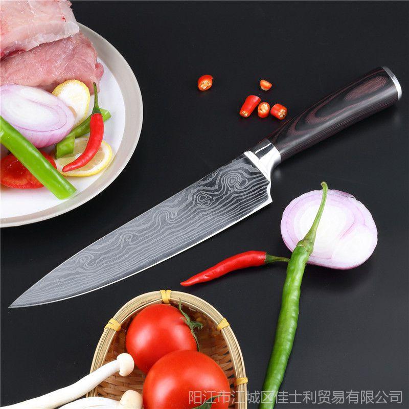 7CR17厨师刀 刺身刀生鱼片切片刀厨师多用刀料理刀大马士革钢刀