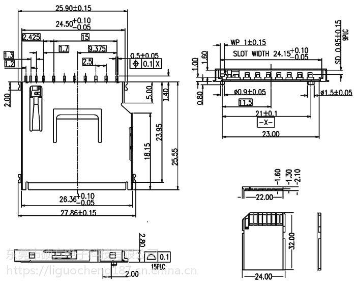 东莞 SOFNG SD-006U 尺寸:26.5mm*25.0mm*3.0mm 内存卡连接器