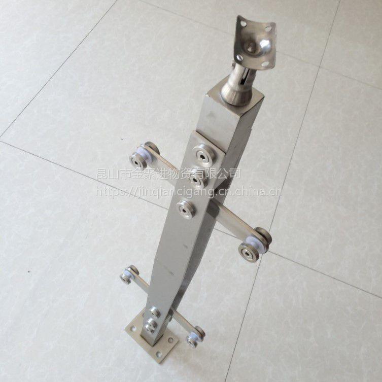 金聚进 工程扶手304玻璃楼梯不锈钢挂立柱阳台根楼梯立柱201菱形实心