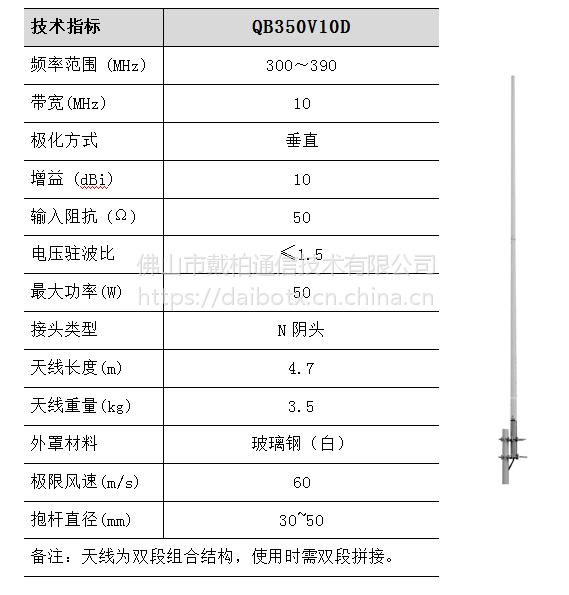 QB350V10D VHF/UHF 300MHz 频段集群通信天线