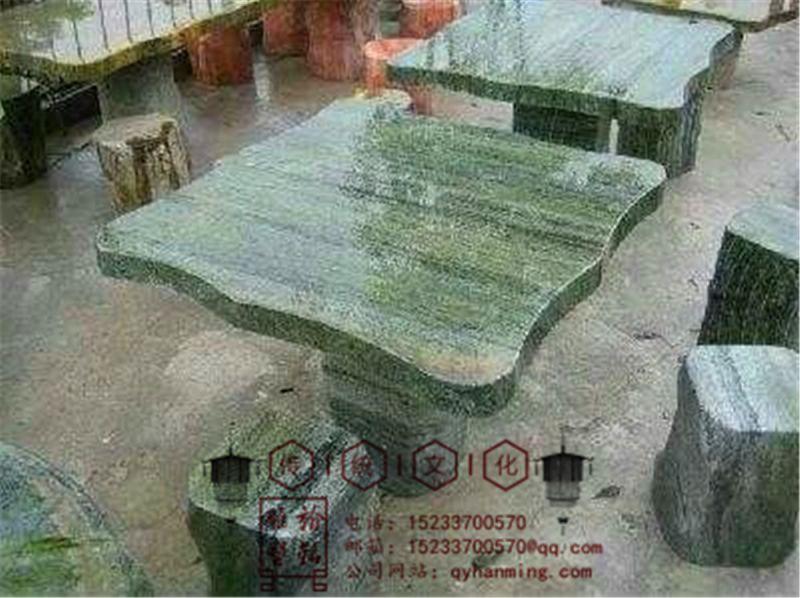 天然大理石石材石桌石凳庭院户外石雕圆桌座椅餐桌石头桌摆件