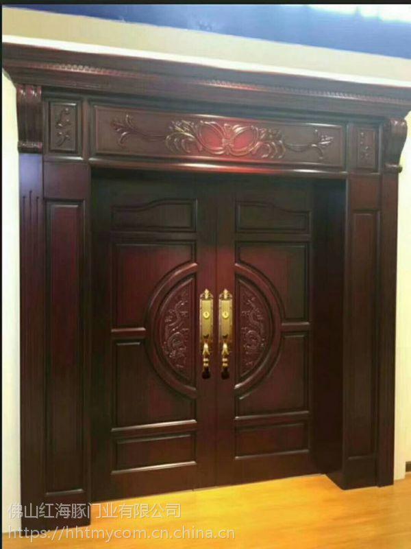 进口原木门橡木门生产厂家佛山红海豚木门厂直销别墅大门,房间室内门