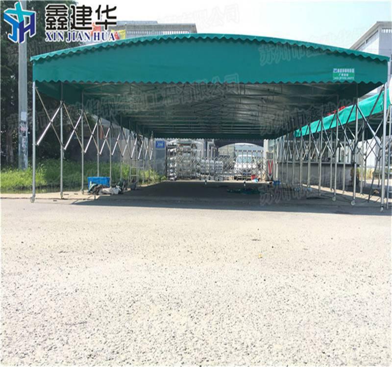 鑫元华滨江定做曲壁式伸缩雨篷阳篷 杭州加强推拉雨棚布大排档雨棚安装视频