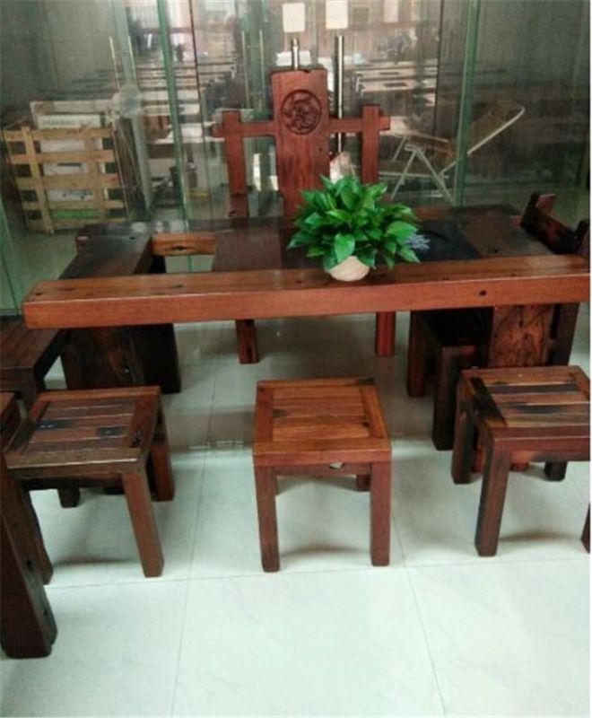 供应沉船木阳台休闲茶桌椅 组合实木户外小茶台仿古茶几