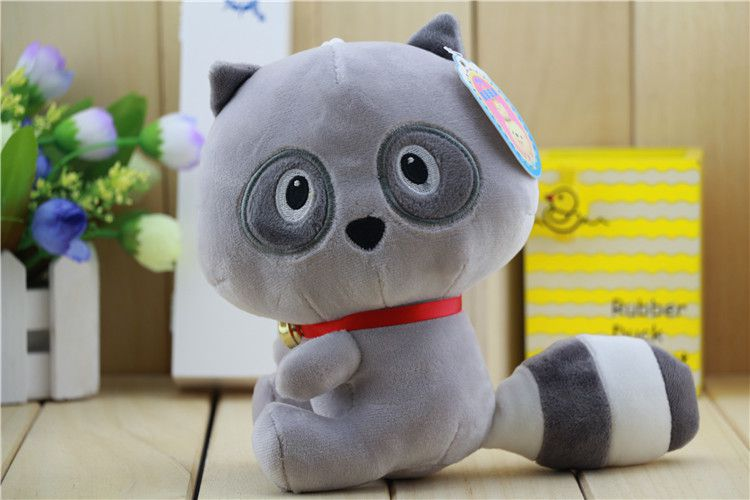 可爱浣熊公仔小熊猫毛绒玩具大尾巴猫娃娃彩色