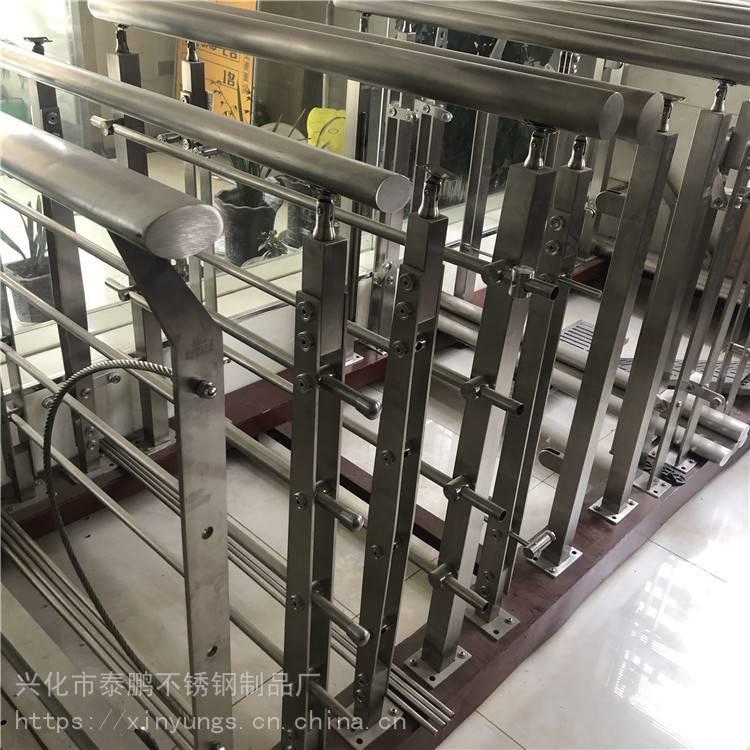 苏州新云 厂家直销304 商场玻璃不锈钢楼梯立柱 阳台栏杆 楼梯栏杆加工