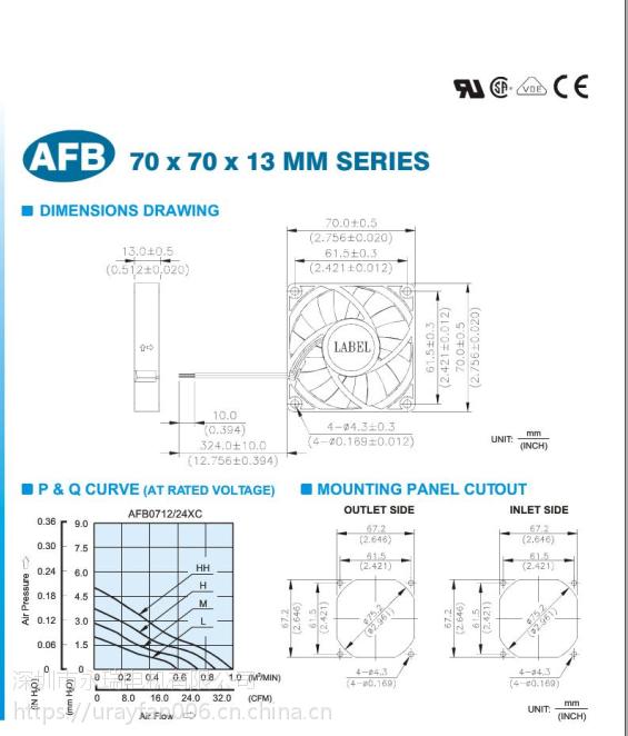 台达总代理 AFB0724HC 70*70*13mm 24v 3800转 台达散热风扇