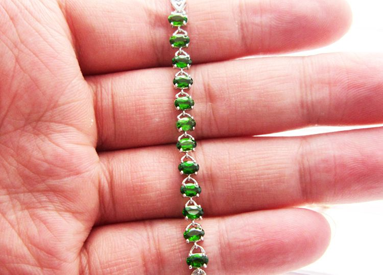 供应批发优质s925银镶嵌天然透辉石手链 珠宝首饰加工代工定制
