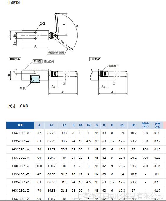 线轨钳制器 进口夹持装置导轨锁 日本NBK库浪霸HKC-1501-A