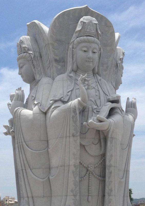 石雕佛像 工厂半成品四面观音拍摄 惠安石雕厂家