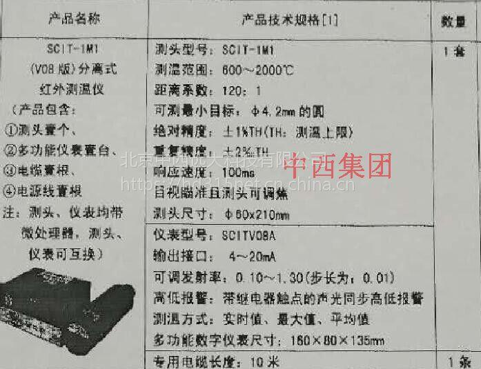 中西 分离式红外测温仪 型号:ZH58-SCIT-1M1 库号:M15115