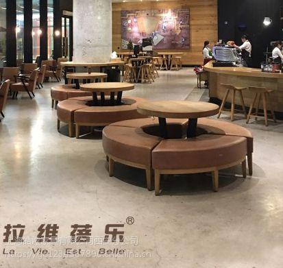 西安星巴克咖啡厅圆形沙发定做