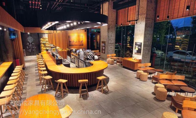 西安星巴克咖啡厅桌椅星巴克实木桌椅定做