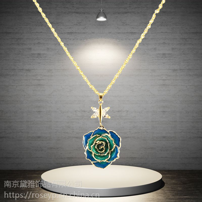 厂家直销圣诞唯美礼物镀金玫瑰花吊坠手工制作黛雅定制款