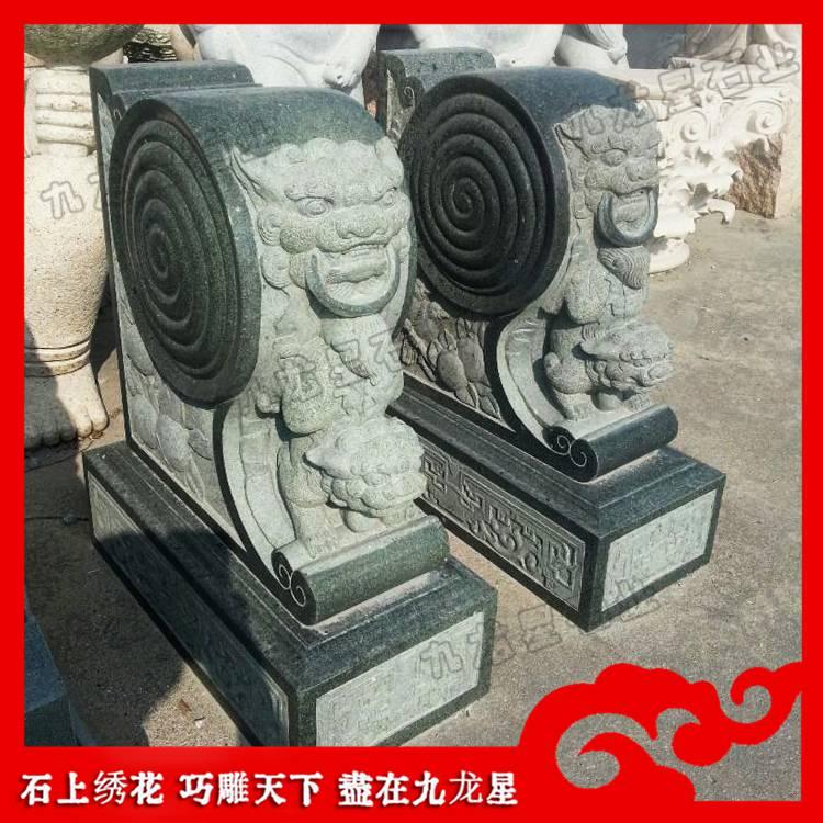 石雕狮子抱鼓石 古厝大门装饰摆件