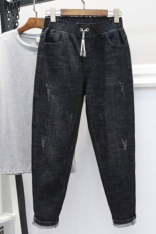 广州几块钱牛仔裤批发厂家春夏新款时尚便宜弹力小脚裤九分裤批发