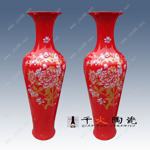 开业礼品、乔迁礼品选景德镇陶瓷花瓶 中国红陶瓷大花瓶 可加字加图