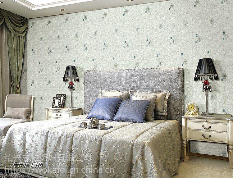 沃卡菲刺绣无缝壁布 简约田园小清新风格 卧室客厅儿童房壁布图片