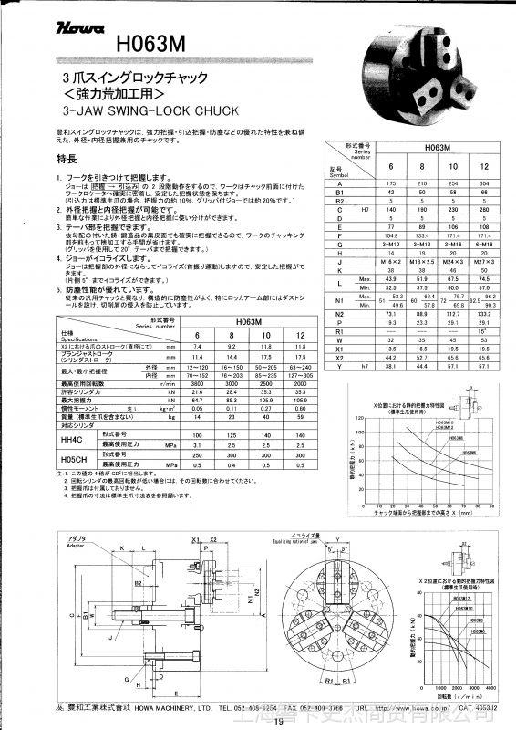 日本丰和 内撑 三爪后拉卡盘 H013MC12